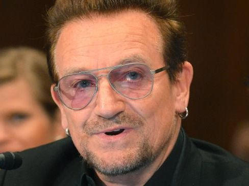 Bono, lead singer of the rock band U2 and humanitarian activist speaks during a Senate Appropriations Subcommittee hearing on April 12, 2016, in Washington, DC. The hearing was on the causes and consequences of violent extremism and the role of foreign assistance. / AFP PHOTO / Mike Theiler