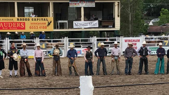 Bullriders from the Wingham Rodeo stand in solidarity for a young bull rider who was injured by a bull on Saturday, March 10, 2018.