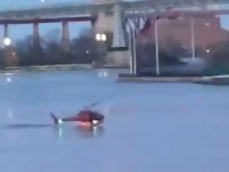 The moment the helicopter crashed into the East River. Picture: Supplied