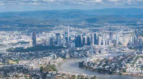 An aerial shot of Brisbane, downtown and river.