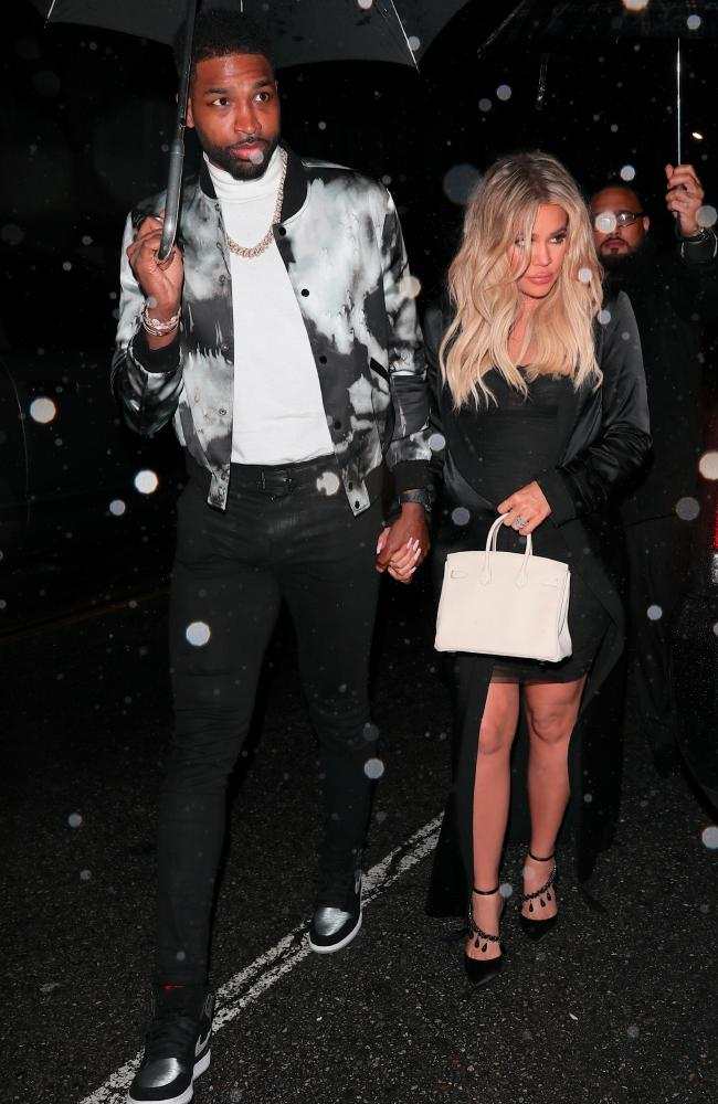 Night out! Tristian Thompson and Khloe Kardashian are expecting a baby girl. Picture: Backgrid
