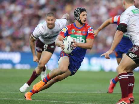 Newcastle's Kalyn Ponga during the Newcastle Knights v Manly rugby league match at McDonald Jones Stadium, Newcastle. Picture: Brett Costello