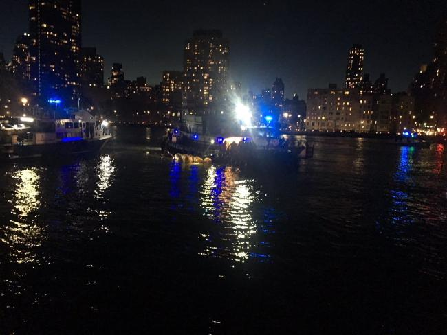 The scene of a helicopter crash in the East River. Picture: AP