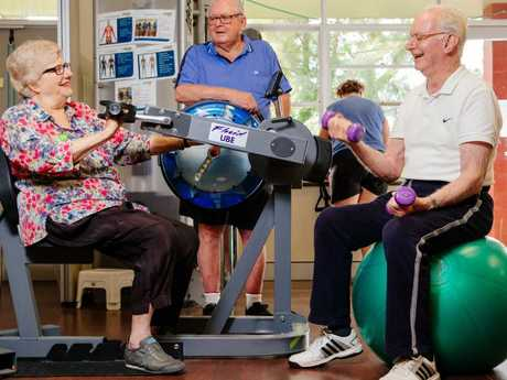 Self-funded retirees from left Bernice Lee, 81, from Drummoyne, Roy Gould, 83, from Ashfield and Gerry McInerney, 83, from Haberfield at the Uniting Seniors Gym at Lilyfield. Picture: Jonathan Ng