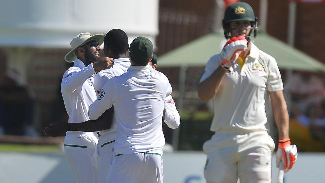 Kagiso Rabada blitzed through the Aussie batting line-up. Picture: Getty Images