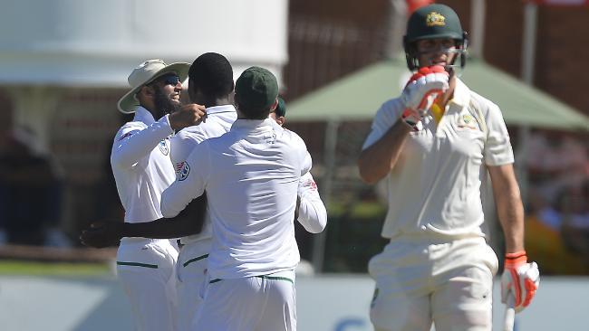 Kagiso Rabada blitzed through the Aussie batting line-up. Picture: Getty Images