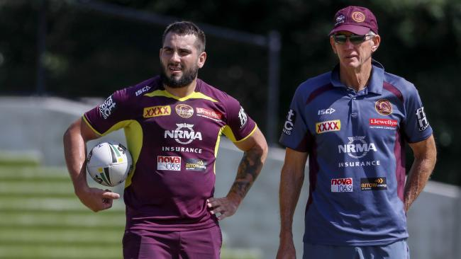 Jack bird with Broncos coach Wayne Bennett at training. Picture: AAP Image/Glenn Hunt