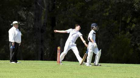 Nana Glen's Nick Stanley-Velt fires a delivery in the Nana Glen v Coffs Colts minor semi-final on Saturday.