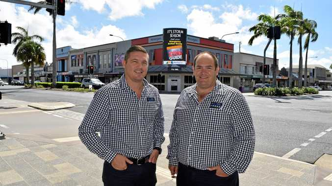Paradise Outdoor Advertising CEO Mitch James (left) and Development Manager Anthony Baxter are excited about the installation of one of their digital billboards on the corner of Sydney and Victoria Street in Mackay.