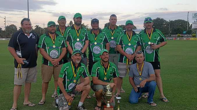 Isis celebrate winning the division 2 Bundaberg cricket title against The Waves.