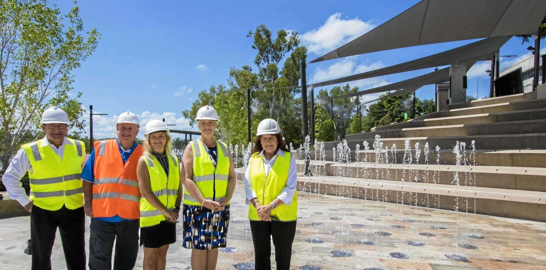 Cr Drew Wickerson, Cr Neil Fisher, Deputy Mayor Rutherford, Mayor Margaret Strelow and Cr Ellen Smith inspecting the new water features on Riverside.