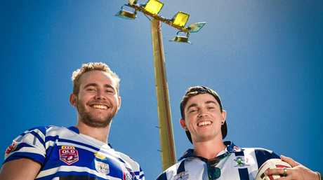 BROTHERS BOYS LIGHT UP: Ben March and Olly Sturt cannot wait to play under lights for Gladstone Brothers against Rockhampton Brothers on Saturday night.