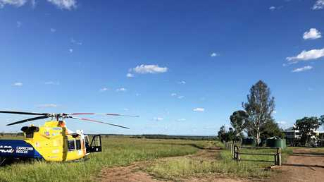The RACQ Capricorn Helicopter Rescue Service airlifts a man from a cattle property near Dingo.