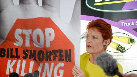 Senator Pauline Hanson in Rockhampton last week slamming Opposition Leader Bill Shorten's stance on Adani.