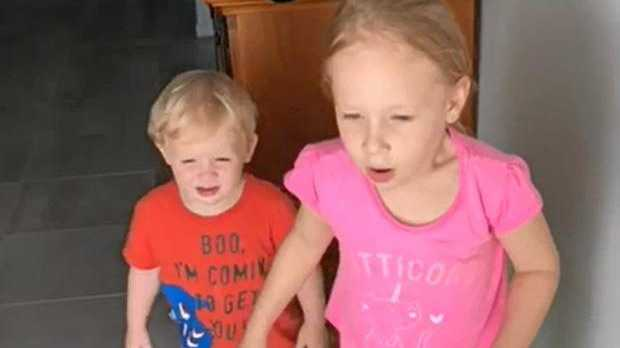 HAPPY DAYS: Amelia, 5 and Odin, 2 were stoked to have their pet cat Sid return home after a eight-month-long adventure.