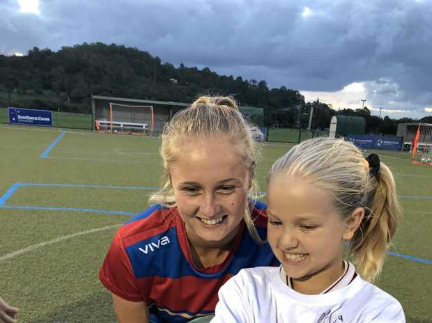 HAPPY SNAP: Isabel Shilling takes a selfie with Newcastle Jets W-League striker and former Matilda Tara Andrews .