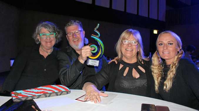Trish Callaghan, Rex and Jen Hutchinson and Belinda Hope celebrate Coastal Framing and Design's big win at the BEATS.