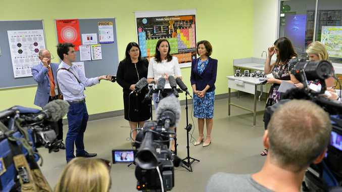 Premier Annastacia Palaszczuk launched this year's Premier's Coding Competition at Bremer High School with Education Minister Grace Grace and Member for Ipswich Jennifer Howard.
