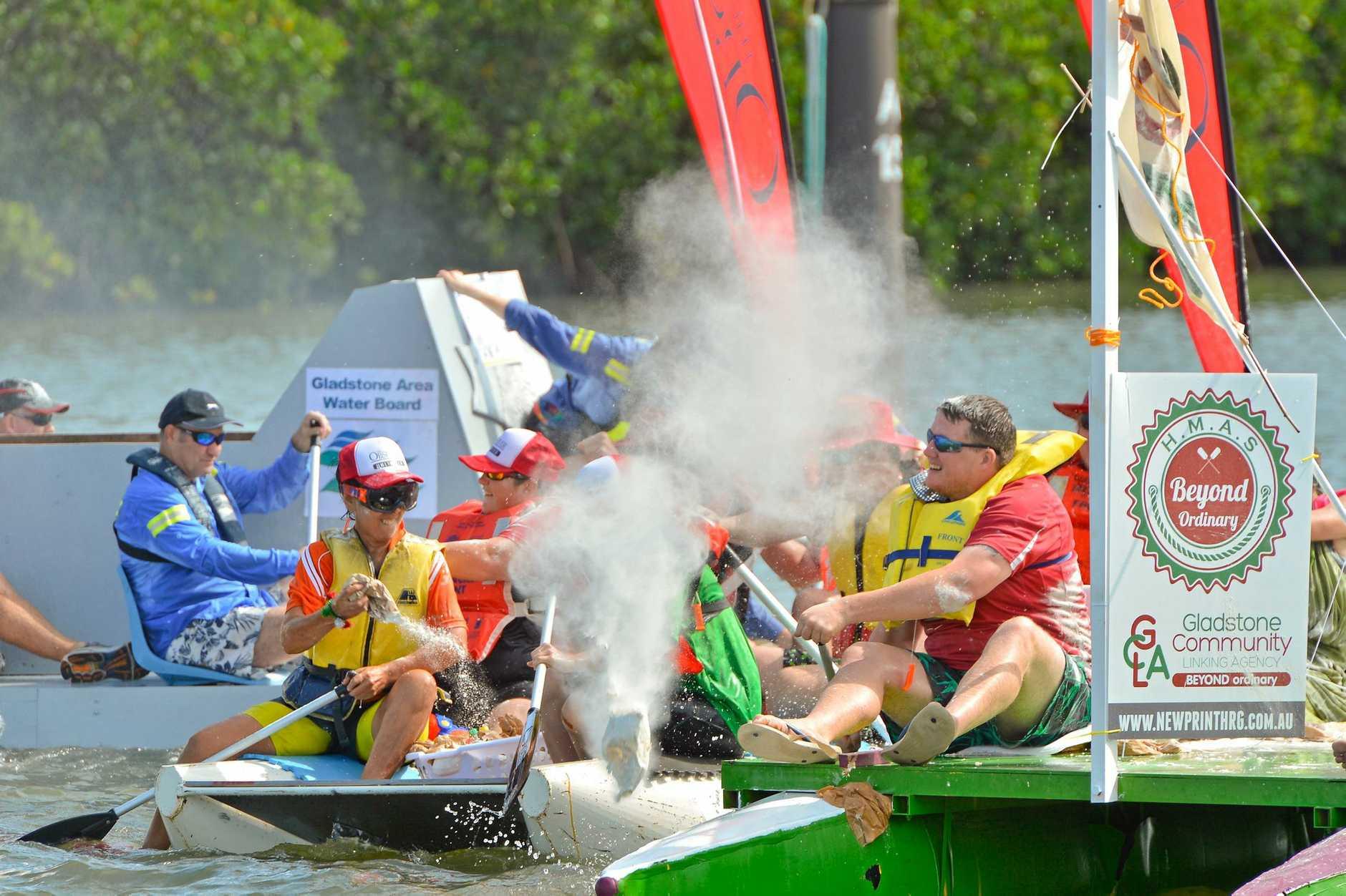 FUN TIMES: The 2017 Gladstone Harbour Festival Great Raft Regatta.