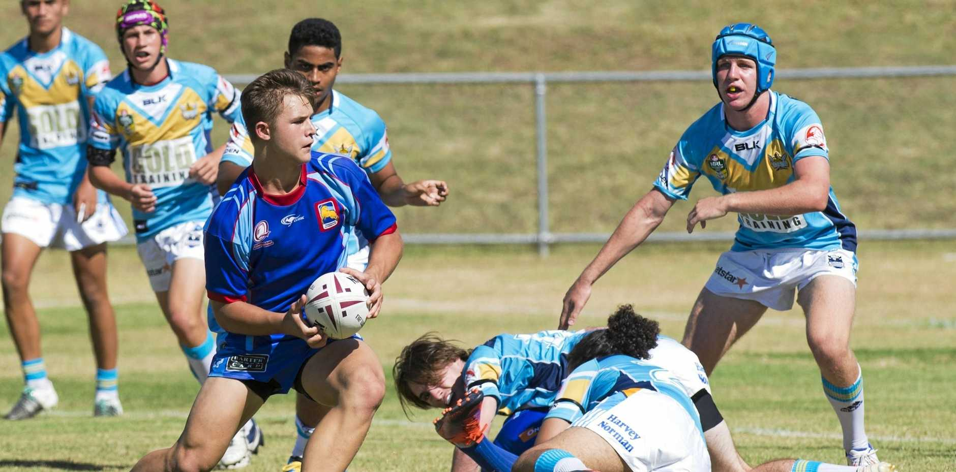 RISING TALENT: Jake Simpkins was among the best on ground for the Western Mustangs in their Mal Meninga Cup game.