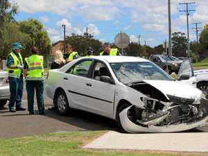 Bonnet smashed in two-vehicle crash
