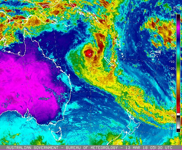 Cyclone Linda has formed off the Queensland coast. Image from Japan Meteorological Agency satellite Himawari 8 via Bureau of Meteorology.