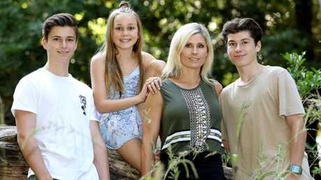 Shannon Noll's family: wife Rochelle and kids Cody, 16, Blake, 15 and Sienna, 11. Picture: Nigel Wright/Channel 10