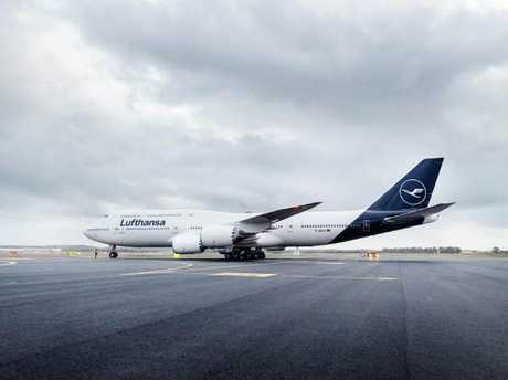 A newly painted Lufthansa 747-8 plane. Picture: Lufthansa