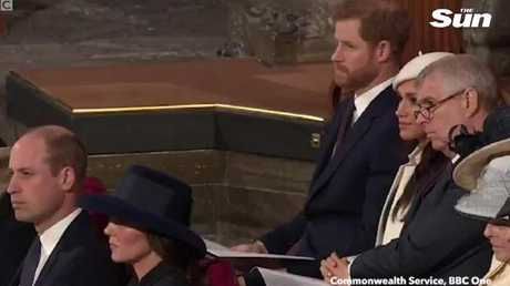 Prince Harry and Meghan Markle during the performance. Prince Harry raised a subtle eyebrow to fiancee Meghan Markle after watching Liam Payne perform at a Commonwealth Day event inside Westminster Abbey.