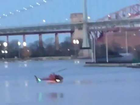 The tourist helicopter prior to crashing into the East River in New York City killing five passengers. Picture: Twitter