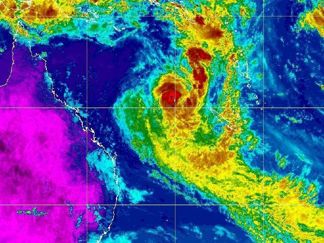 Cyclone Linda captured on satellite yesterday afternoon.