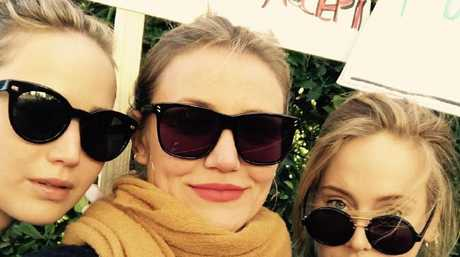 Cameron Diaz with Women's Marchers Jennifer Lawrence and Adele. Picture: Instagram @adele