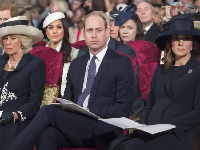 The Duchess of Cornwall, Meghan Markle, Prince William and the Duchess of Cambridge attend the Commonwealth Day Service at Westminster Abbey. Picture: AFP/ Paul Grover