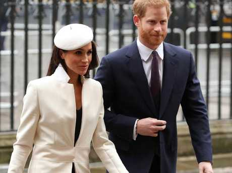 Britain's Prince Harry and fiancee US actress Meghan Markle attend a Commonwealth Day Service at Westminster Abbey. Picture: AFP