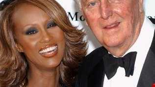 (The designer with supermodel, Iman. Picture: AFP/Olivier Laban-Mattei