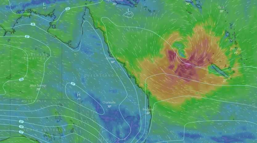 Windy.com shows some activity happening in the Coral Sea on Tuesday, March 13.