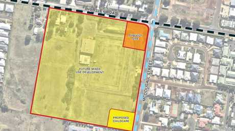 Glenvale Central development proposal on Hursley Rd, Glenvale. The site features a childcare centre and servo.