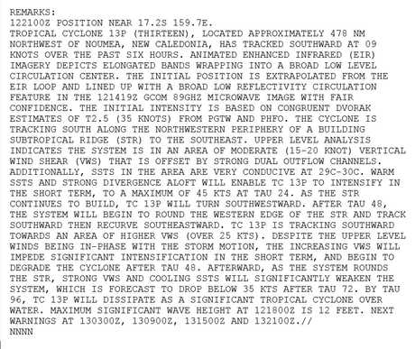 The USNO's remarks on the potential cyclone forming in the Coral Sea.