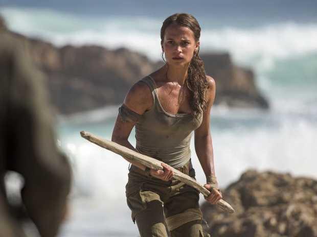 Alicia Vikander in a scene from the movie Tomb Raider.