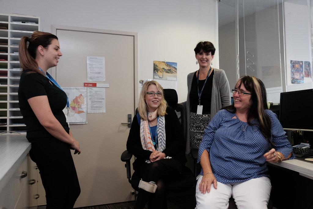 Siobhan Murphy, Ashleigh Cranitch, Robin Waldie, and Evlyn McKenzie at LifeLine Darling Downs.