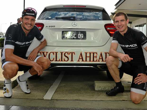 Two-time Ironman champin and Olympic gold medalist Jan Frodeno and Mercedes-Benz Sunshine Coast's Richie Leech.