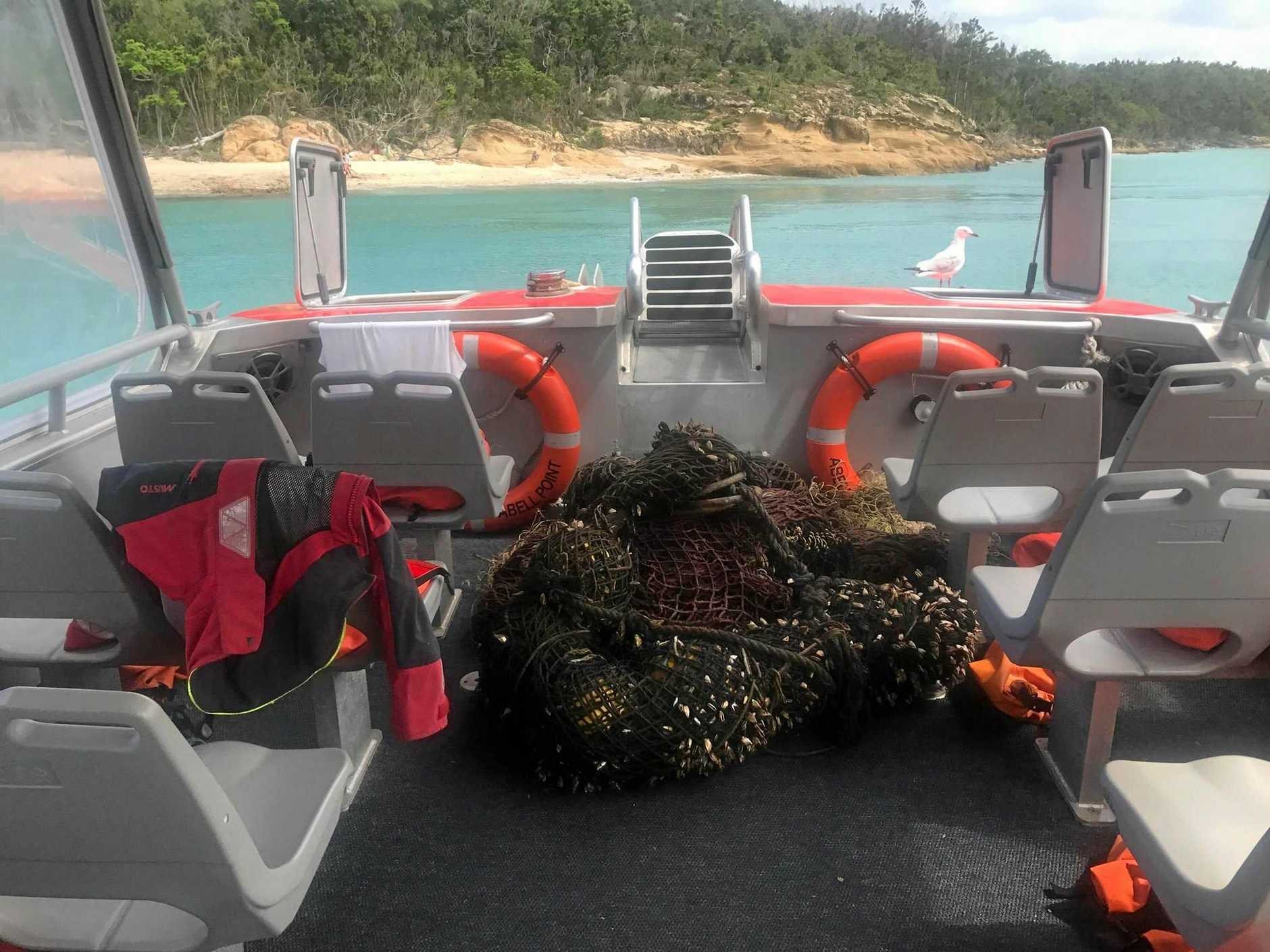 The ghost net onboard the Thunder Cat after being salvaged by crew and a passenger.