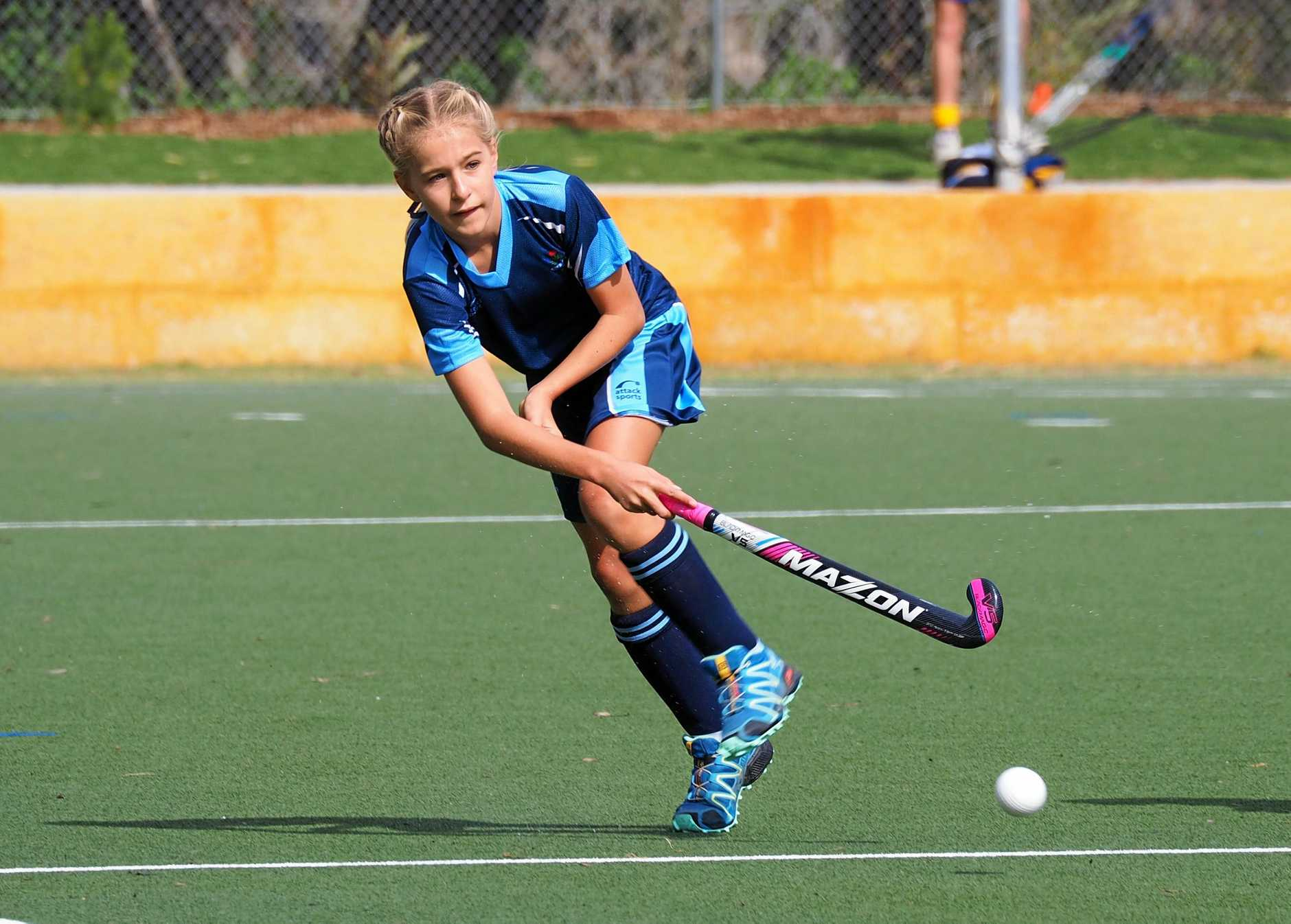 Coffs Harbour hockey player Hayley Fischer in action for NSW at the PSSA national championships.