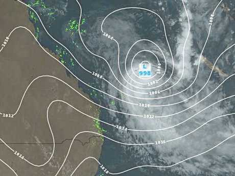 A Weatherzone image of Tropical Cyclone Linda as at 5am this morning.