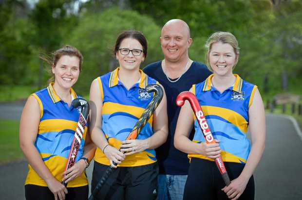 ON THE ATTACK: BITS Crocs players Kylie Beattie, Kirsty Iszlaub and Kaitlin Heaney with club president Brenton Iszlaub.