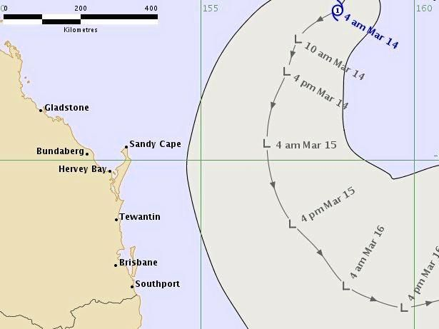 THE Bureau of Meteorology track map for now ex-Tropical Cyclone Linda which shows the low pressure system's expected movement down the south Queensland coast.