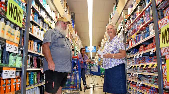FRIENDLY: Regular shoppers Maurice O'Neill with his mother Evelyn O'Neill at Ritchies Kyogle.