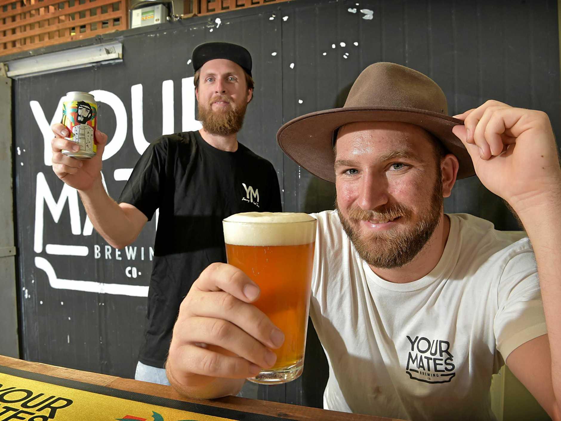Opening of Your Mates Brewing Co. at Caloundra.Matt Hepburn (right) enjoys a beer with Christian McGarry.