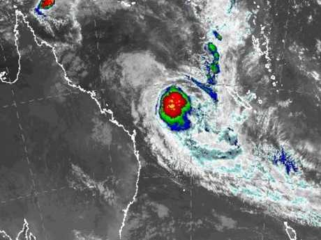 A satellite image of TC Linda at midnight last night. Source BoM