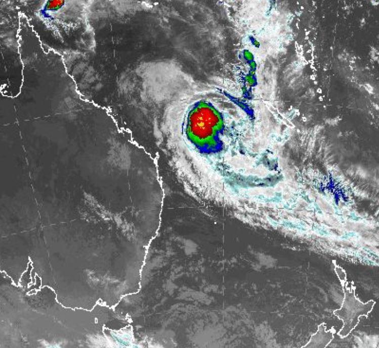 A satellite image of TC Linda at midnight last night. Source BoM